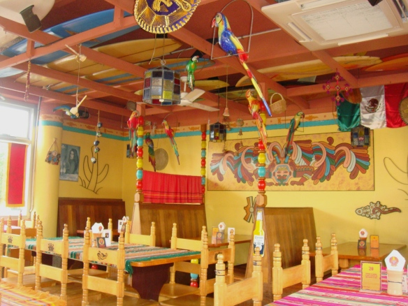 This Mexican restaurant decorated from top to bottom.